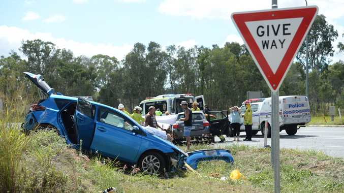 Two children were critically injured in a serious crash on Yeppoon Rd at Ironpot.