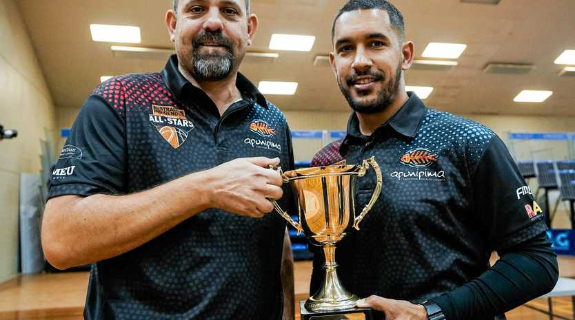 The winning Australian Indigenous National Basketball team was captained by Chris Cedar (right), the Mackay Meteors captain. Mackay Basketball general manager Jason Borg is the team's assistant coach.