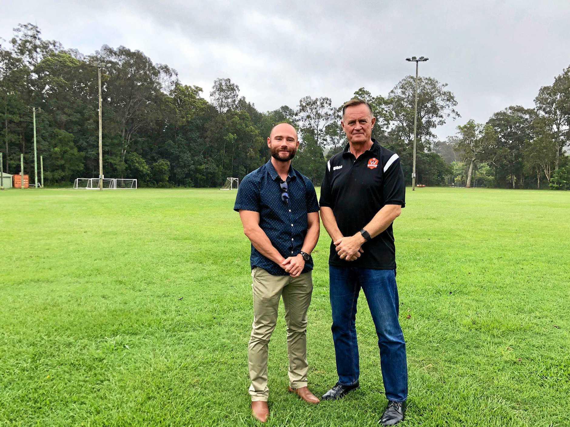 Cr Christian Dickson and BWFC president Ian Marks back in November, 2018.