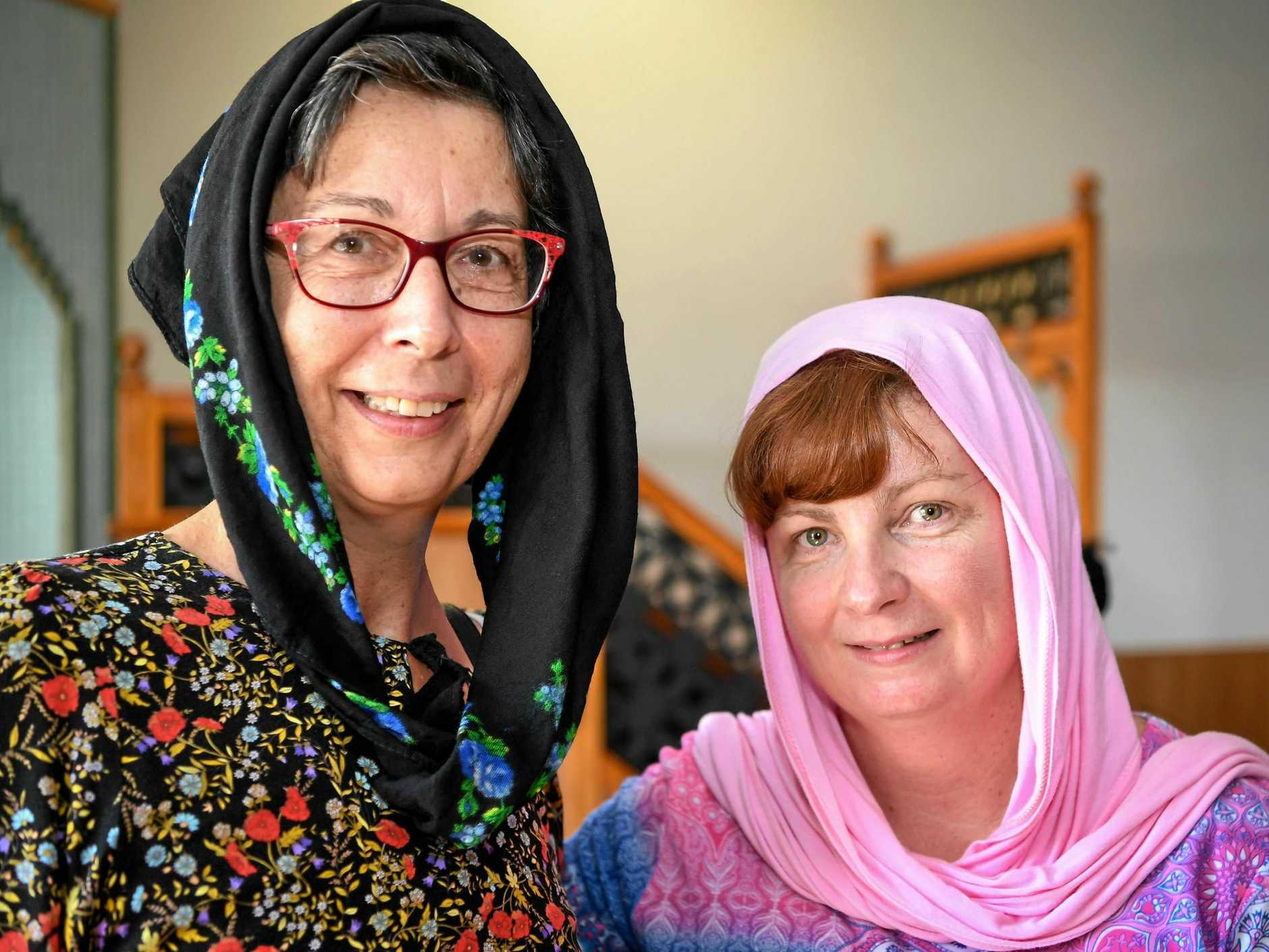 STANDING UNITED: Kathryn Tolstoff and Melissa Shehato at the Bundaberg Mosque Open Day on Saturday.