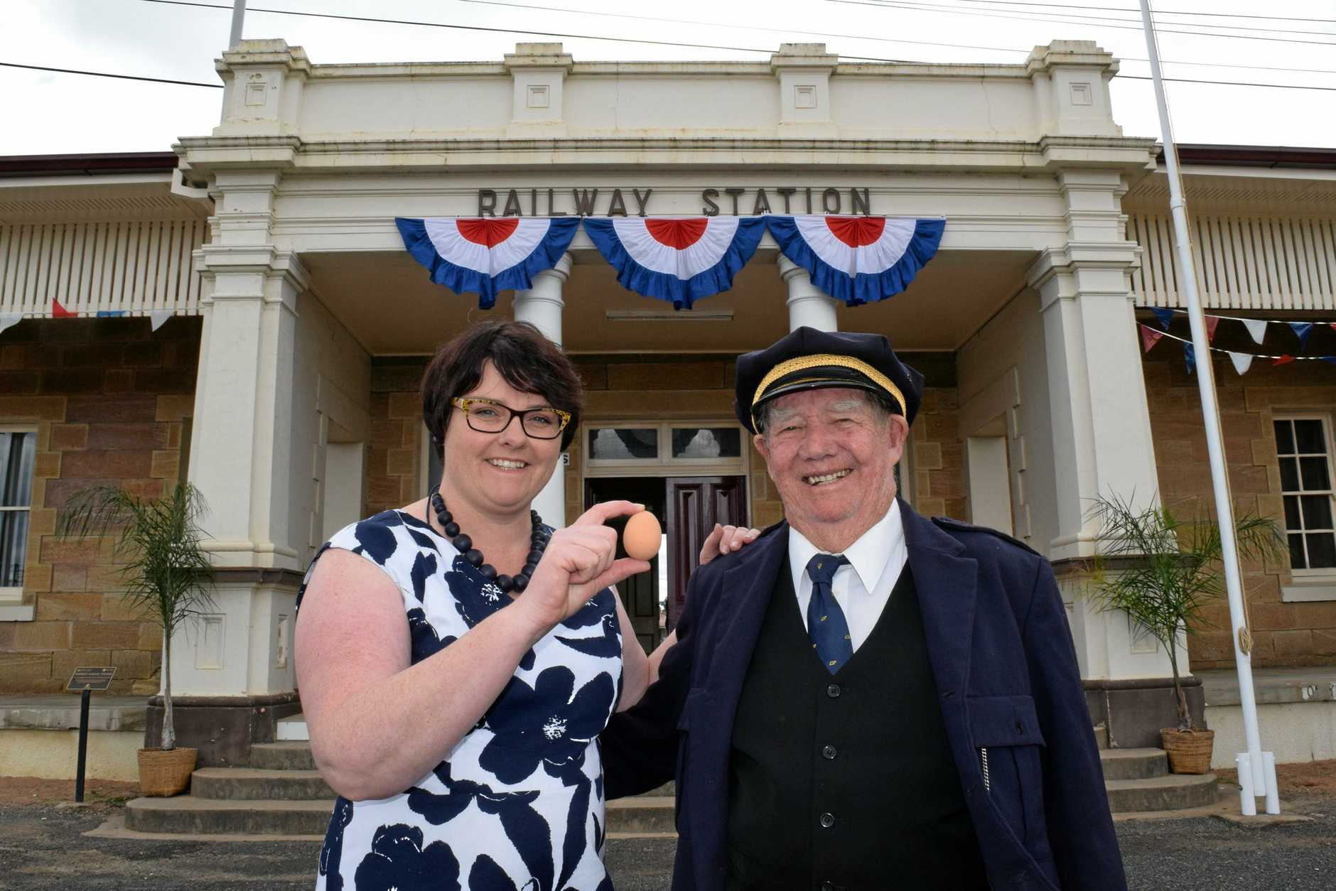 Louise Brosnan, direct descendant of egg-thrower Paddy with Southern Downs Steam Railway president Bob Keogh look forward to Warwick Egg Incident celebrations.