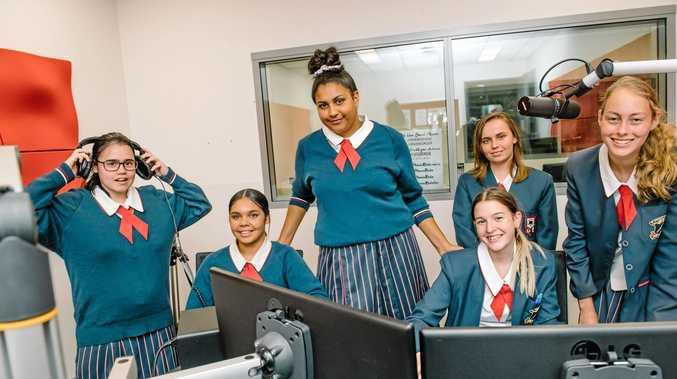 WIRED FOR SOUND: St Saviour's College Toowoomba students (from left) Monica Guy, Krishna Pender, Shaykeeda Bell, Keeley Crothers, Arael Lewis and Hayley McMahon in the radio studio at USQ Springfield.