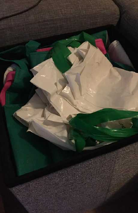 The Kmart storage ottoman is perfect for hiding all those plastic bags you're accumulating. Picture: Facebook