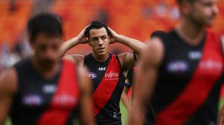 Essendon's Dylan Shiel after the game in a big loss to his former side the GWS Giants in their AFL match at Giants Stadium. Picture. Phil Hillyard