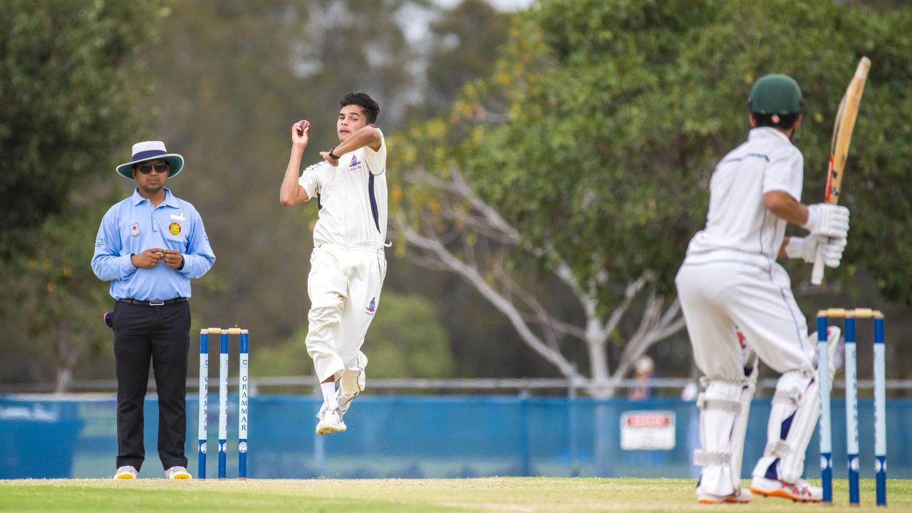 TSS bowler Matthew Dalton during a game earlier in the season against Brisbane Grammar. Picture: AAP Image