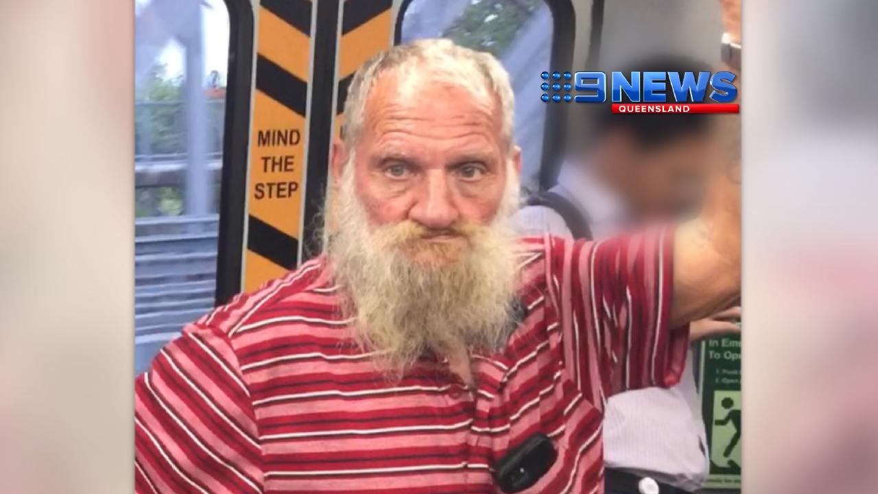 Convicted rapist Robert John Fardon filmed travelling on a train. Picture: Channel 9
