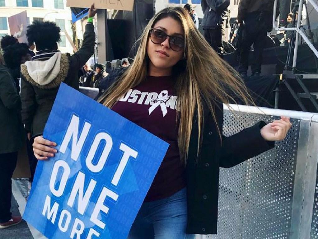 Sydney Aiello protested against gun laws.