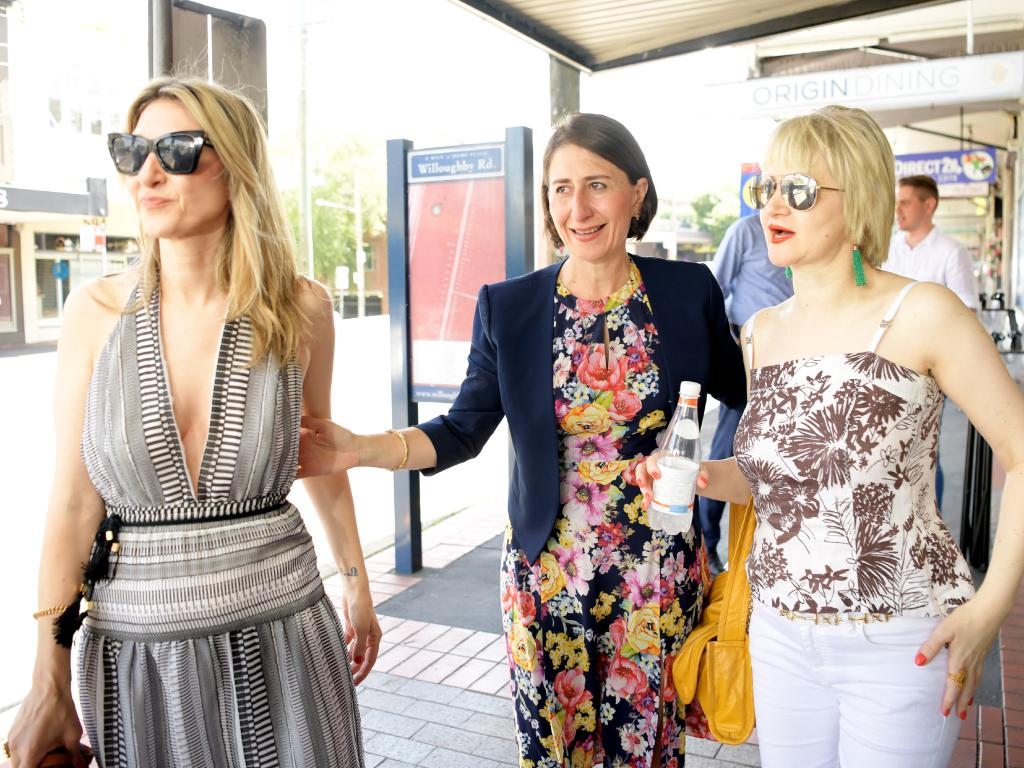 The Premier spent time with her sisters Mary Berejiklian (left) and Rita Berejiklian on Sunday. Picture: Tracey Nearmy