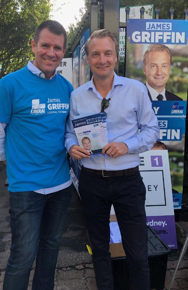 Manly MP James Griffin (right) campaigning with former NSW premier Mike Baird. Picture: Julie Cross.