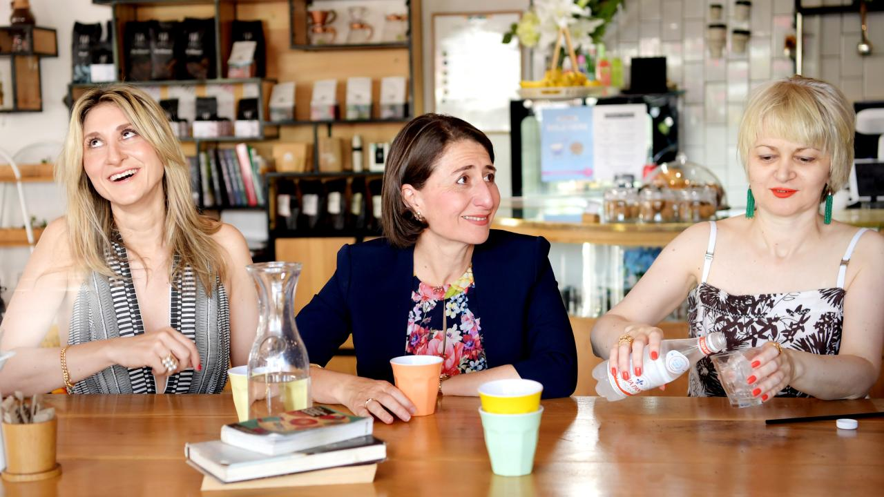 The Premier enjoys a coffee at Little Giant Coffee Roasters with her sisters Mary Berejiklian (L) and Rita Berejiklian. Picture: Tracey Nearmy
