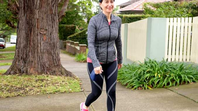 Ms Berejiklian walks to the local gym for a workout on Sunday. Picture: Tracey Nearmy