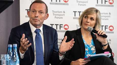 Tony Abbott and Zali Steggall at a leadership summit. Picture: Monique Harmer