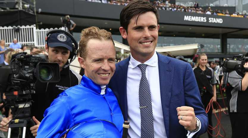 Kerrin McEvoy and trainer James Cummings after winning the Ranvet Stakes.