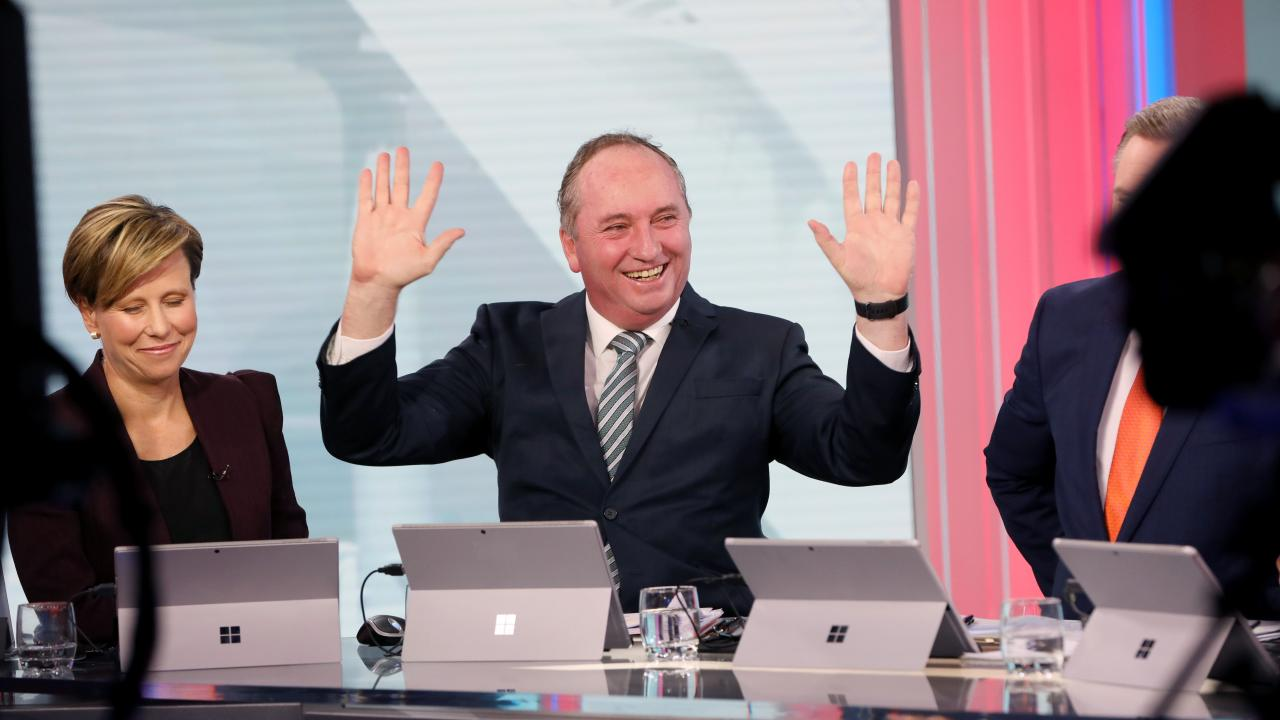 Barnaby Joyce on set at Channel 7 during the election coverage in Sydney. Picture: Damian Shaw