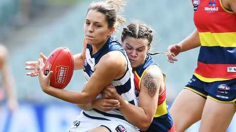 Anne Hatchard tackles Geelong's Danielle Orr during the 66-point victory. Picture: Mark Brake/Getty Images
