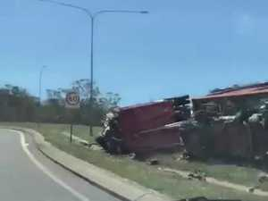 Truck roll over near Boyne Island