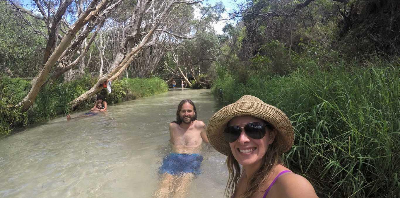 John Paul Whelan and Tina Satchell at Eli Creek on Fraser Island.