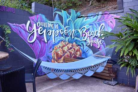 English tourist Rosie Woods, who is also behind the colourful Cockatoo painting in Emu Park, painted this mural recently out the back at Yeppoon Beach House using spray paint.