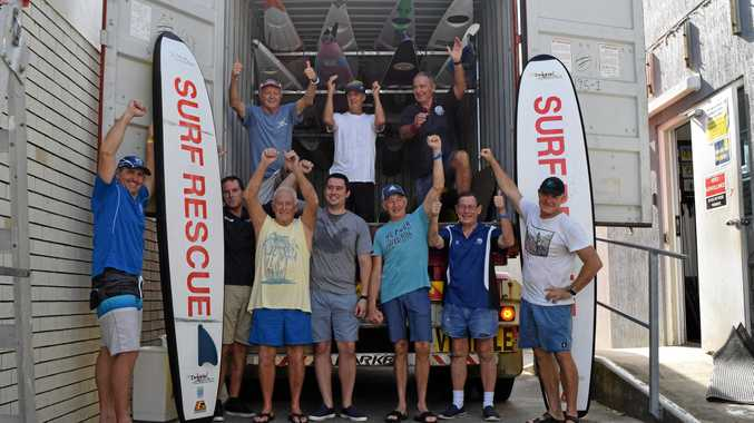 Maroochydore SLSC life member Wade Lee (left), life governor Mal Pratt (back left) and their selfless volunteers packed a shipping container with gear to donate to Leo Carrillo Lifeguard Club in Malibu, to help them rebuild after the fires wiped out the club in November.