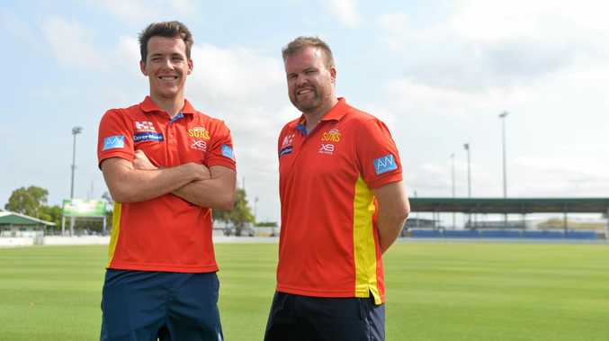 AFL Mackay competitions manager Paul Scullie (right) welcomes 'the great unknown' that is the return to senior footy for the Moranbah Bulldogs.