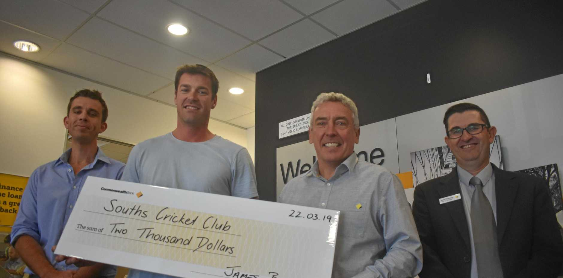 CRICKET GRANT: Souths captain Scott Hilton accepts a $2000 cheque from Commonwealth Bank Roma team members James Burton, Blade Hall and Scott Thomson.