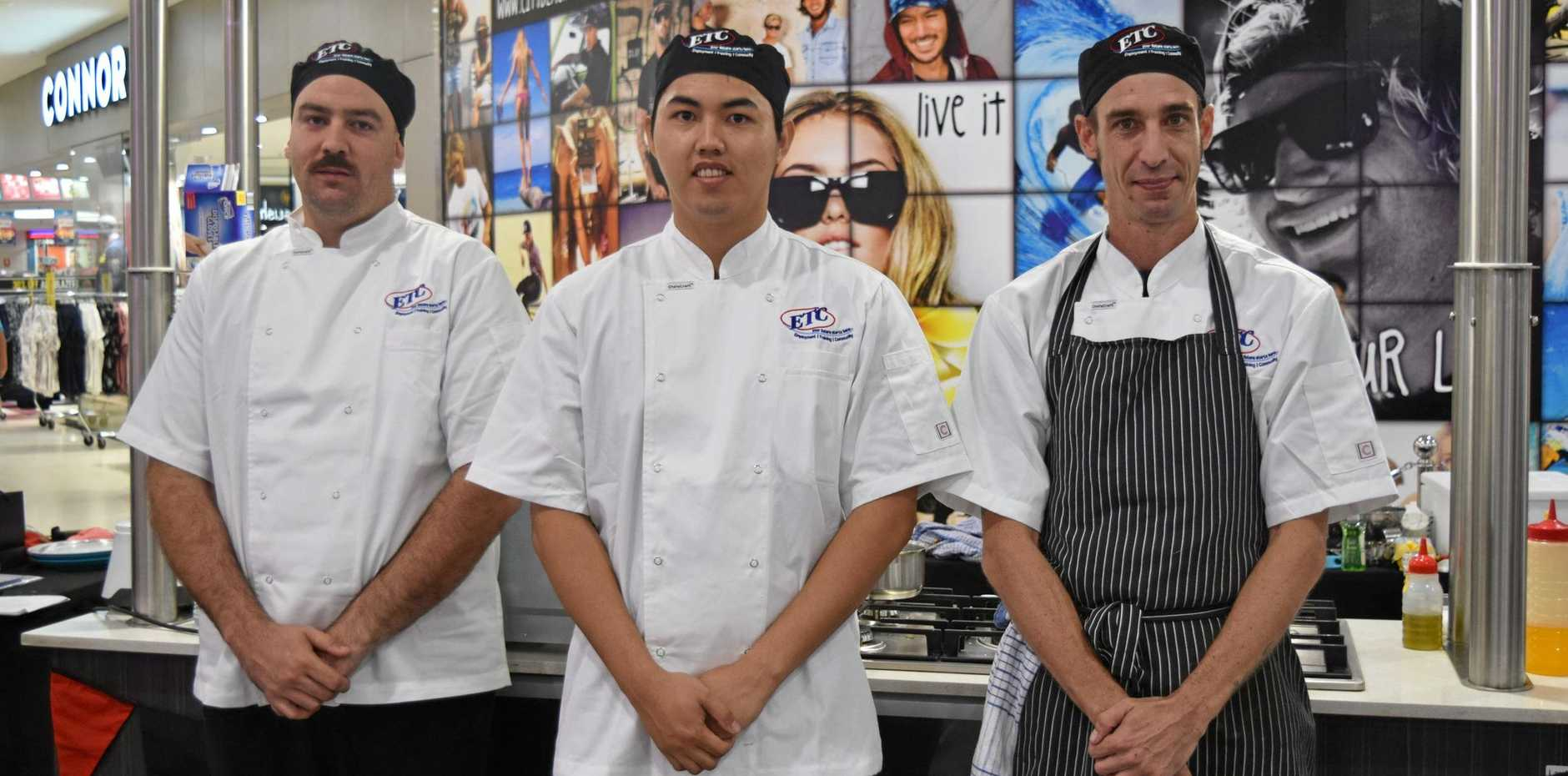 NEW TALENT: From left: Carool's Jayden Ross, Tweed Heads' Mac Palencia and eventual winner Lismore's Joe Carrall at the Lismore competition cook-off for the inaugural ETC Apprentice of the Year. Mr Carrall will compete against the winners of the other two rounds at the grand finale cook-off to be held in Coffs Harbour in July.