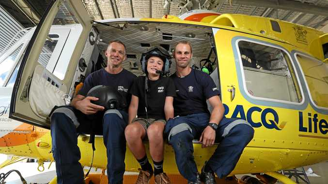 RACQ Lifeflight recipient Connor Creagh meets the team that rescued him including Pilot Andrew Caton and Doctor Oskar Larsson, Sunshine Coast.