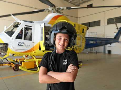 12 year-old RACQ Lifeflight recipient Connor Creagh meets the team that rescued him with his mum Connor Creagh. Photographer: Liam Kidston.