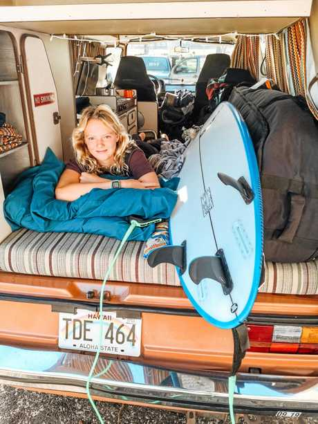 Teenage sensation Amarnie Barber relaxing in her van before a competition.