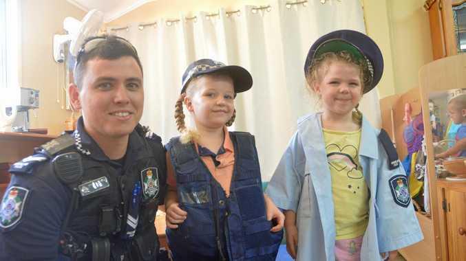 BREAKING DOWN BARRIERS: Senior Constable Rhys Everitt is the new Adopt-a-Cop at St John's kindergarten.