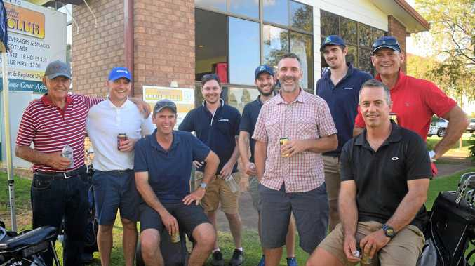 DAY ON THE GREEN: The boys from Axiom insurance brokers and Morgans Financial at the 2019 CCCI President's Cup Golf Day.