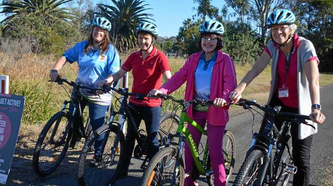 GET ACTIVE: South Burnett councillors Danita Potter, Roz Frohloff, Kathy Duff and Ros Heit go for a ride along the Rail Trail.