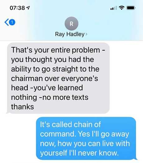 Mr Bowen said he received this message from Hadley after raising complaints with Macquarie Media Chairman Russell Tate in 2018. Picture: Supplied