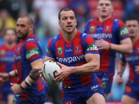 Mullen playing for the Newcastle Knights in August 2016. Picture: Getty
