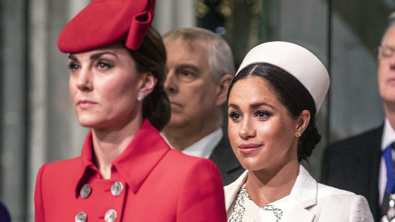 Royal feud? Kate and Meghan put on a united front. Picture: Richard Pohle/Pool Photo via AP