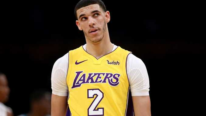 LOS ANGELES, CA - JANUARY 05: Lonzo Ball #2 of the Los Angeles Lakers looks on during the first half of a game against the Charlotte Hornets at Staples Center on January 5, 2018 in Los Angeles, California. NOTE TO USER: User expressly acknowledges and agrees that, by downloading and or using this photograph, User is consenting to the terms and conditions of the Getty Images License Agreement. Sea