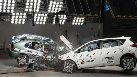 ANCAP crash test: Toyota Corolla 2015 versus 1998 models. Picture: Supplied
