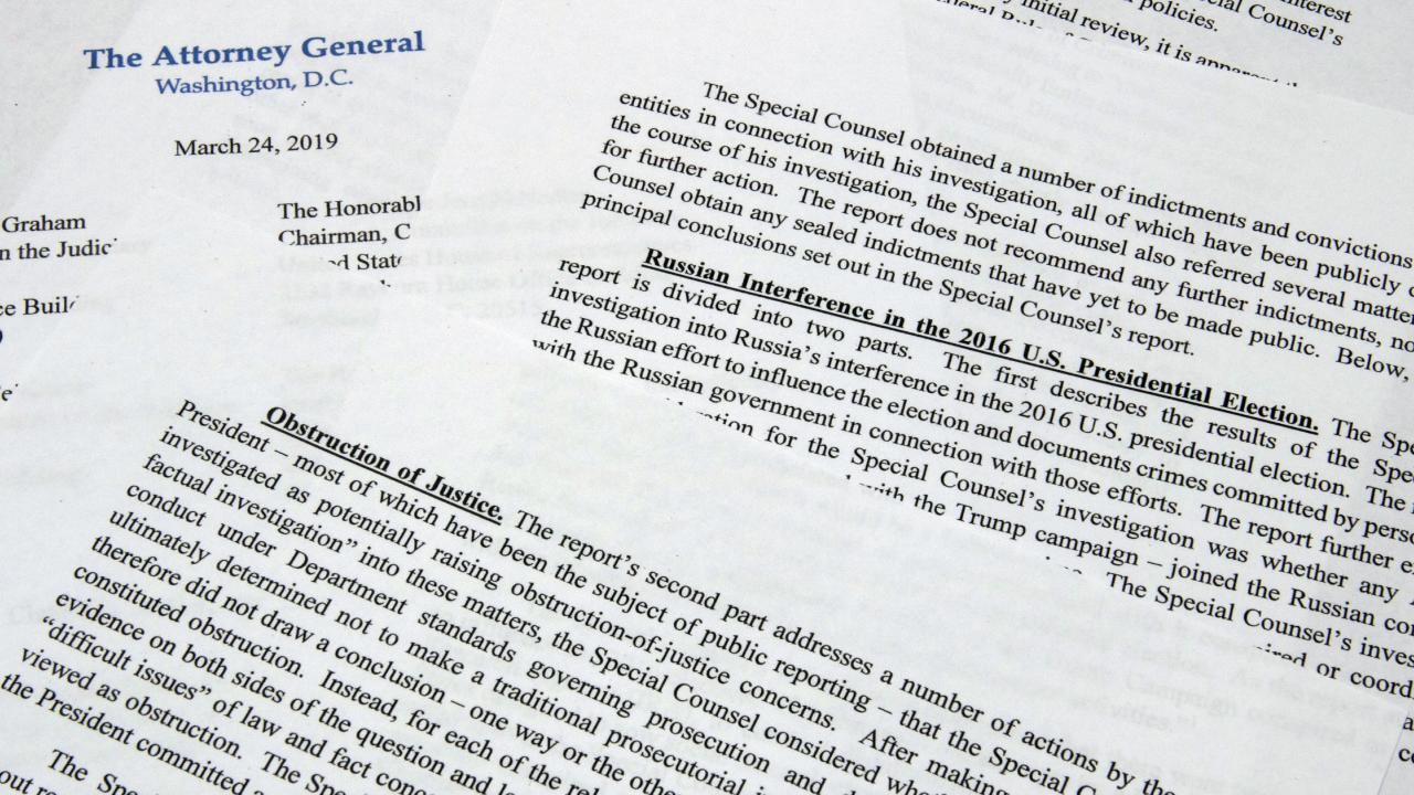 The letter from Attorney-General William Barr to Congress on the conclusions reached by special counsel Robert Mueller in the Russia probe. Picture: AP
