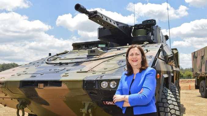 Queensland Premier Annastacia Palaszczuk at the Rheinmetall Military Vehicle Centre at Redbank.