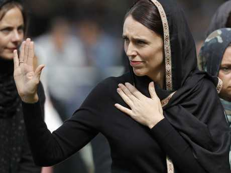 New Zealand Prime Minister Jacinda Ardern waves as she leaves Friday prayers at Hagley Park in Christchurch, New Zealand. Picture: Vincent Thian/AP