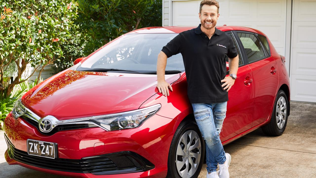 Grant Denyer Gumtree Cars ambassador with a Toyota Corolla.