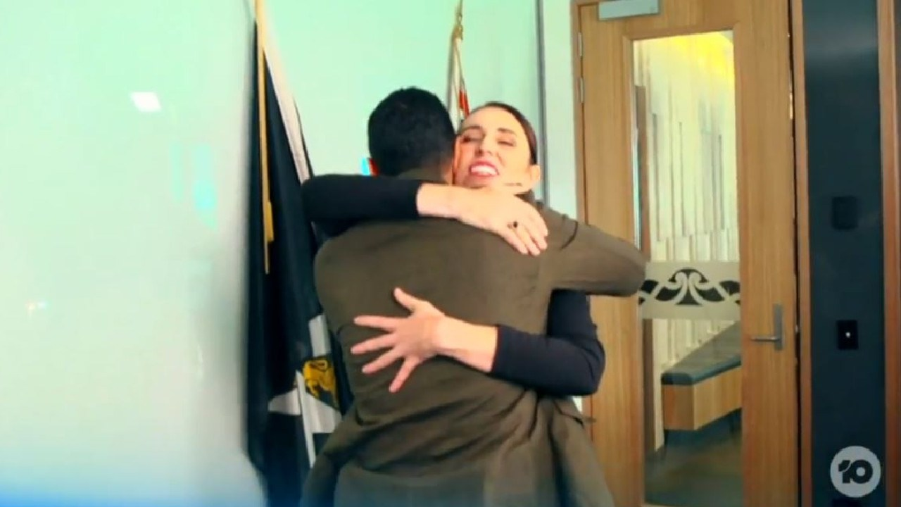 Ms Ardern greeted Aly with a hug before their interview got underway