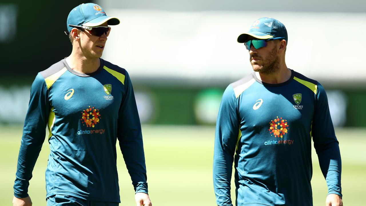 Cricket Australia discussed replacing Aaron Finch (right) as one-day captain with Tim Paine. Pic: Getty Images