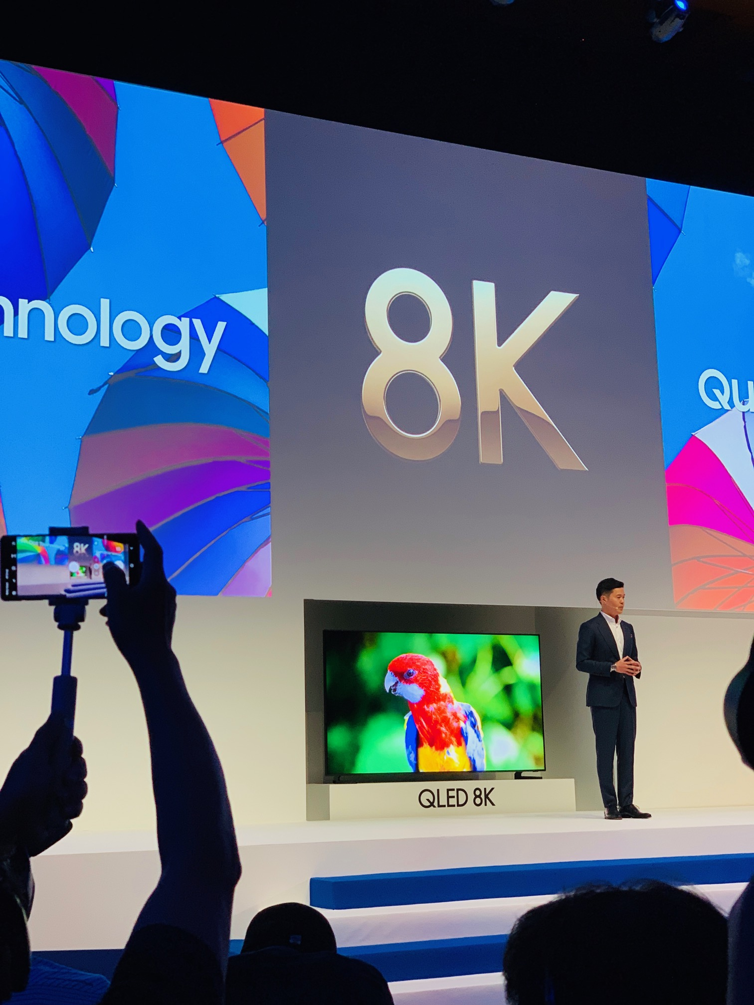 Samsung SEAO's Region Head of TV unveiling the 2019 QLED range.  Picture: Claire Gould