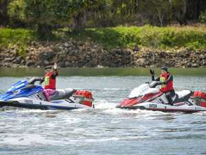 Jet skiers made their way into Gladstone Harbour as