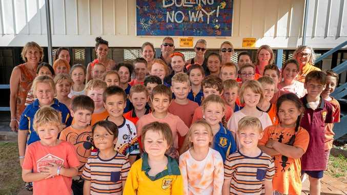 NO WAY: Students at Ballandean go orange for anti-bullying day.