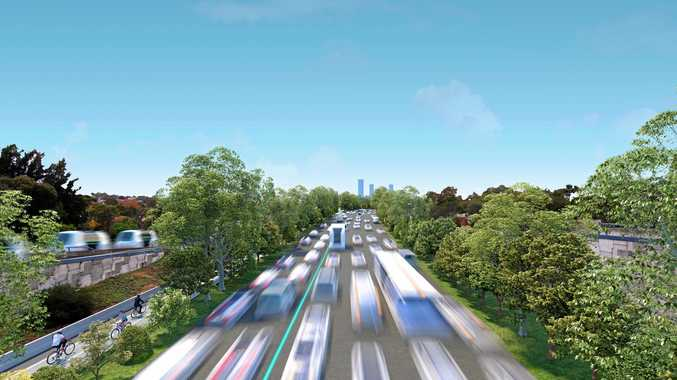 Victoria's vision of The Monash Freeway with only automated and electric vehicles.