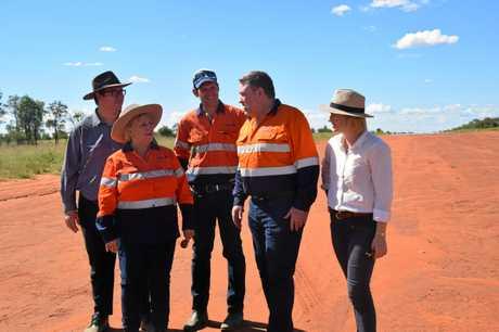MPs George Christensen and Michelle Landry with Senators Matt Canavan and Amanda Stoker speak with Adani Australia chief executive Lucas Dow at the Carmichael mine site