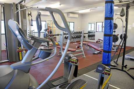 Adani's fully equipped gym at the temporary construction camp