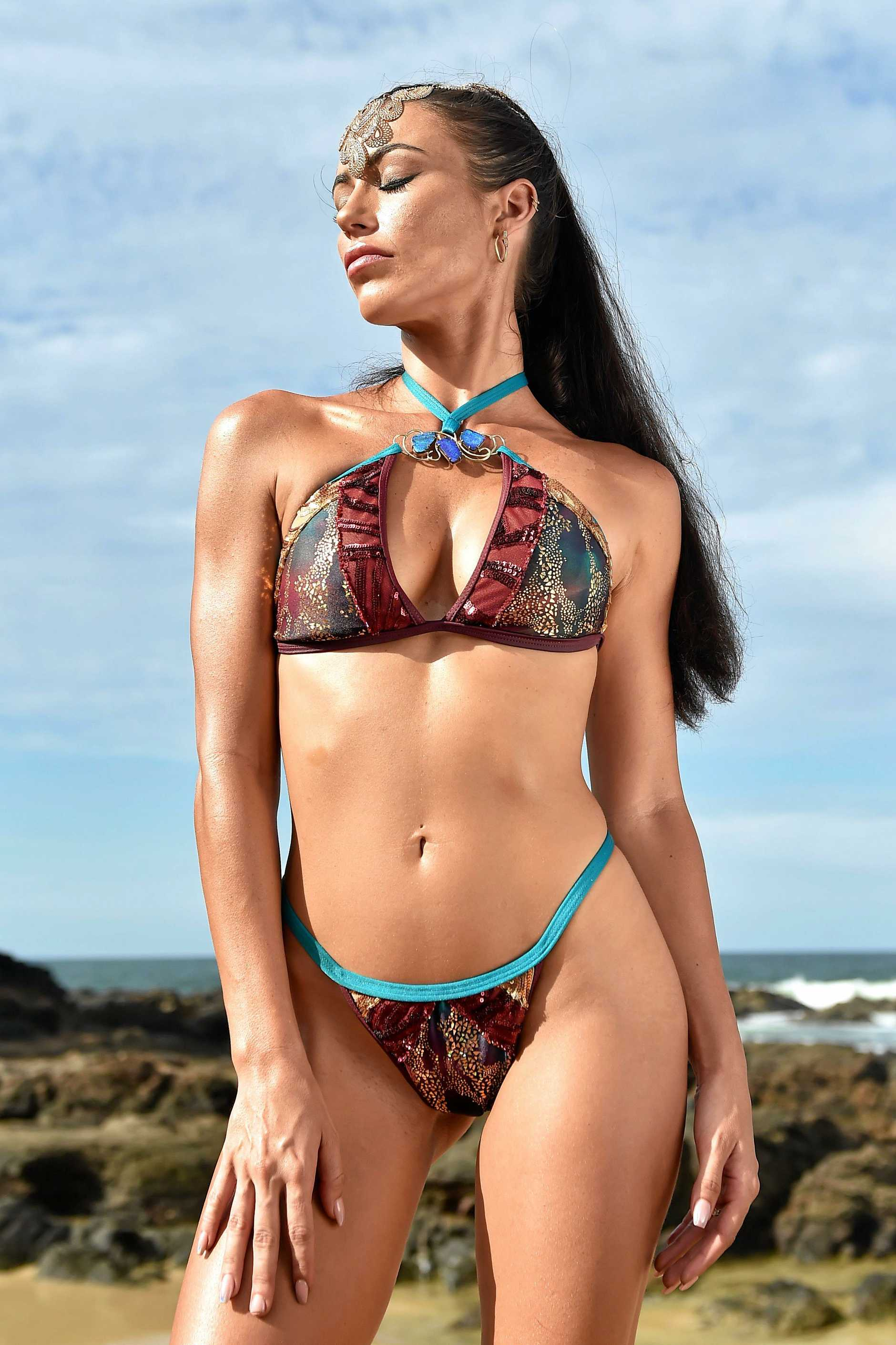 Swimsuit model and mental health advocate Melanie Bragg modelling the $35,000 OPAL bikini by Veve Swimwear designer Vanessa Bryce teamed with local jewellery designer Vanessa Nock.